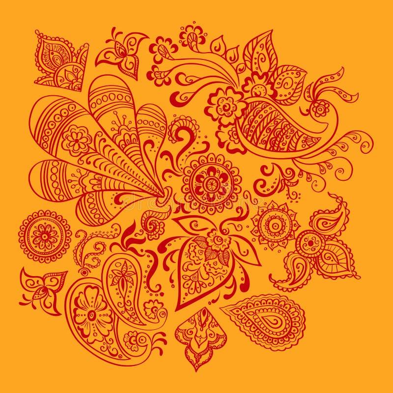 Индийский флористический орнамент бесплатная иллюстрация