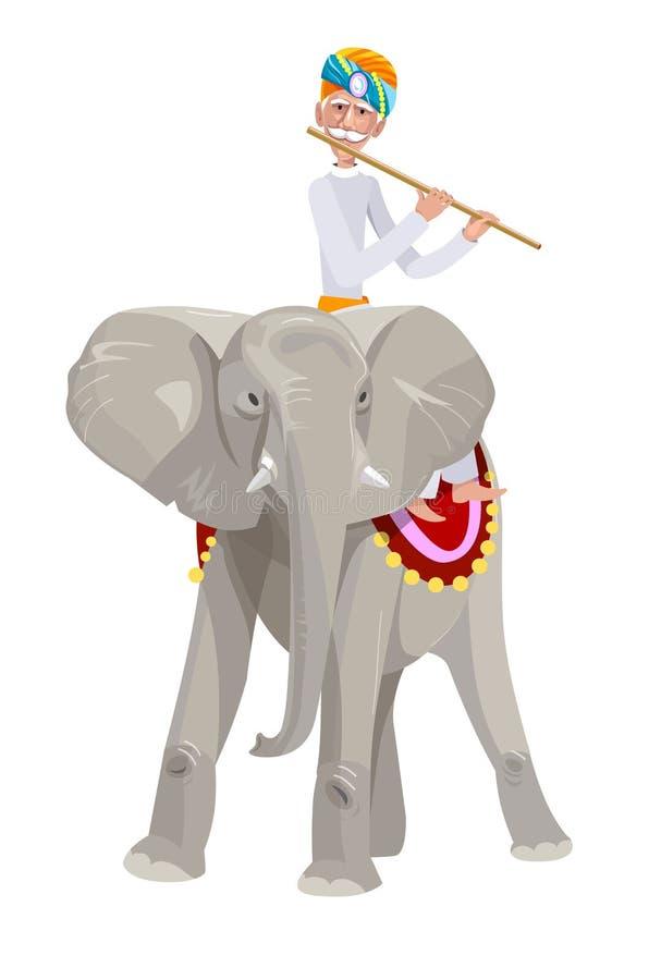 Индийский человек на слоне стоковое фото