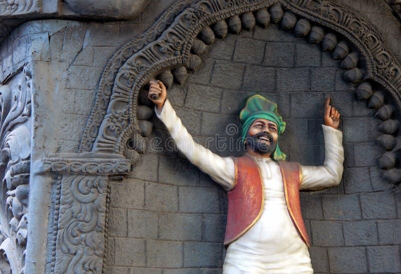 Индийское искусство стены танцора bhangra панджабца стоковое фото