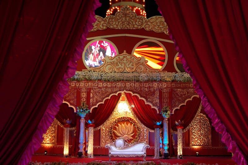 Индийское mandap этапа свадьбы стоковые изображения