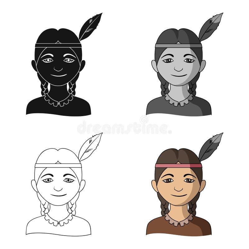 индийско Значок человеческого общества одиночный в сети иллюстрации запаса символа вектора стиля шаржа иллюстрация вектора