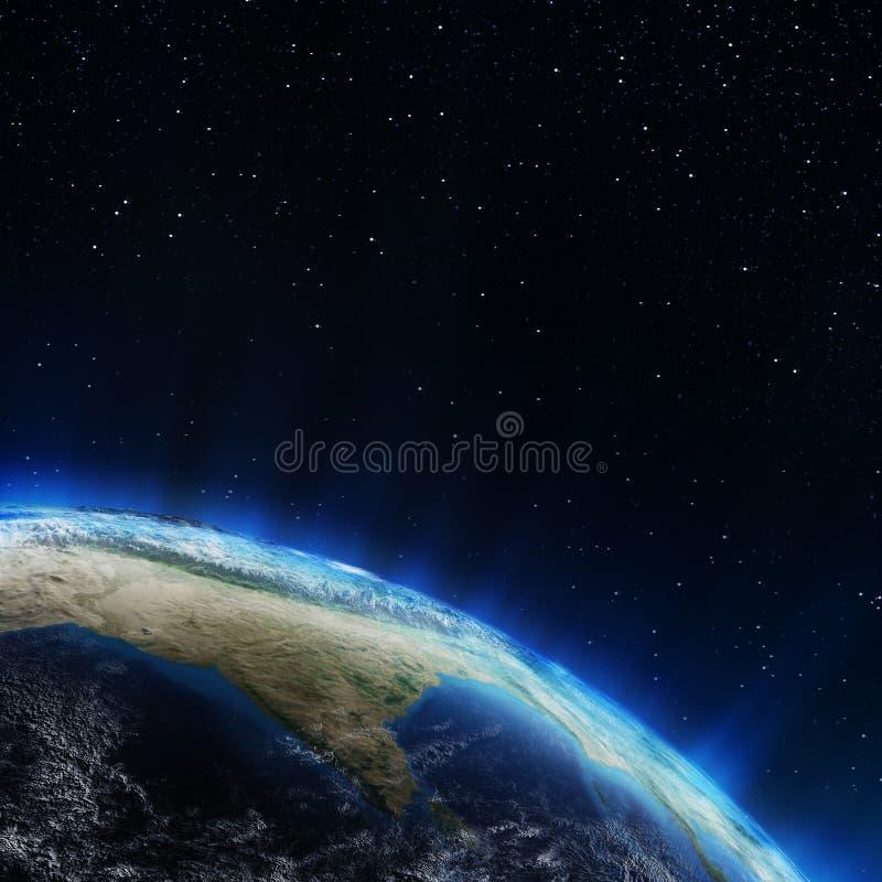 Индия и Гималаи от космоса иллюстрация вектора