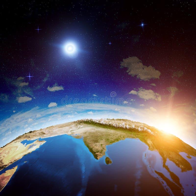 Индия от космоса иллюстрация вектора