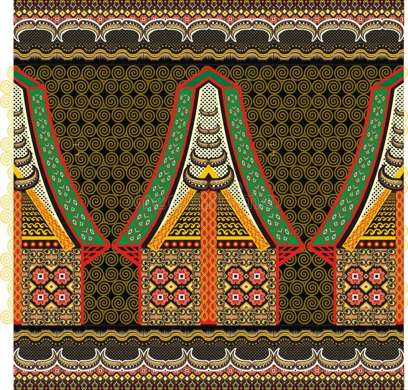 Индонезийский мотив батика иллюстрация вектора
