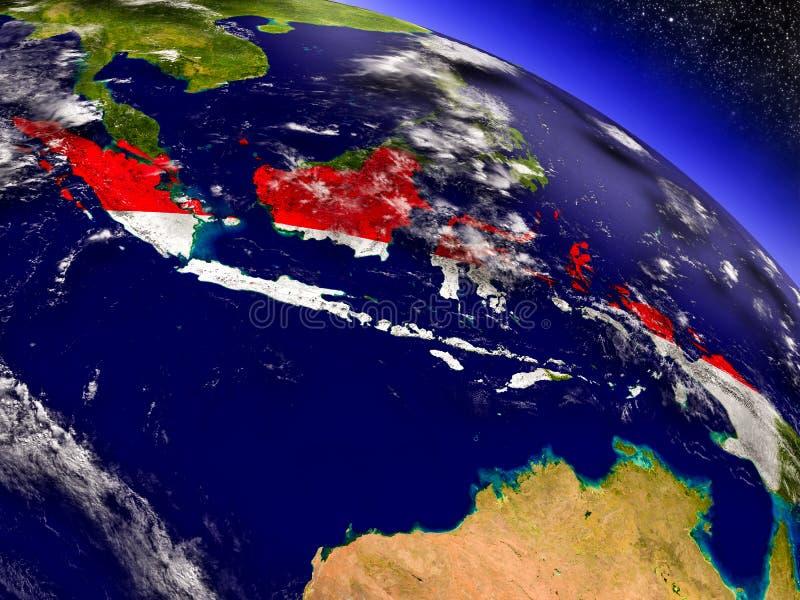 Download Индонезия с врезанным флагом на земле Иллюстрация штока - иллюстрации насчитывающей спутник, страна: 81809720