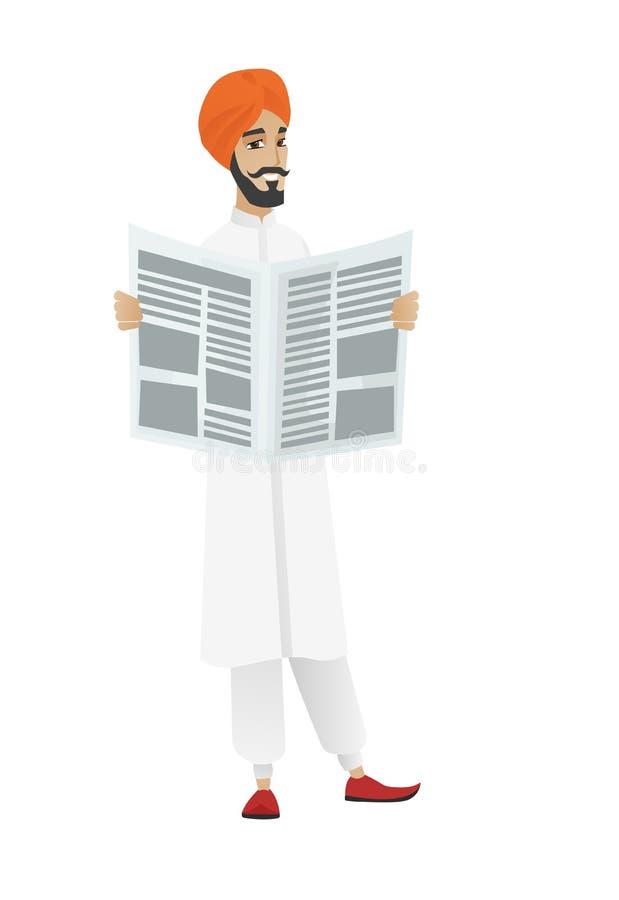 Индусская газета чтения бизнесмена иллюстрация вектора