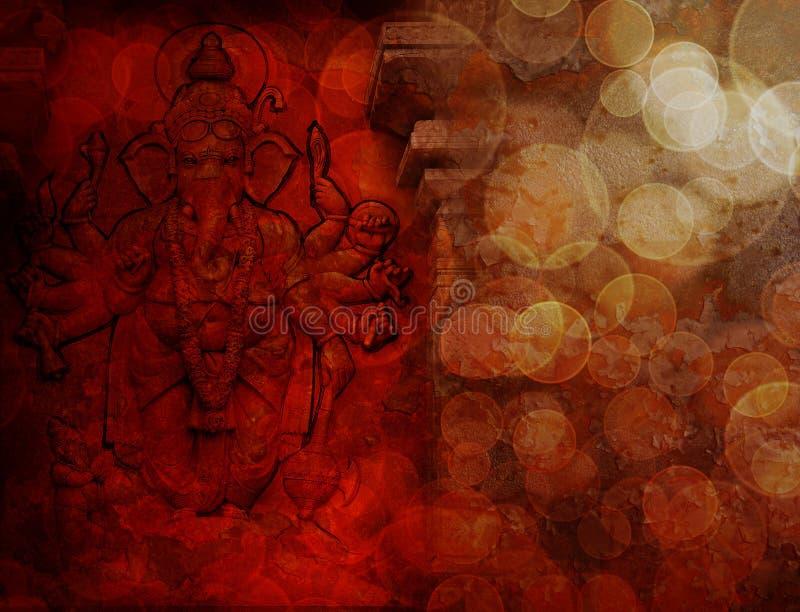 Индусский бог Ganesh с много подготовляет красный Grunge стоковое изображение