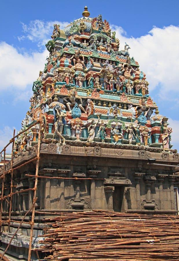 Индусский висок в Ченнаи, южная Индия стоковые фотографии rf