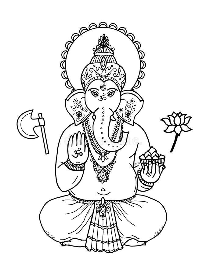 Индусский лорд Ganesha бога головы слона Индийские, индусские мотивы Tatt бесплатная иллюстрация