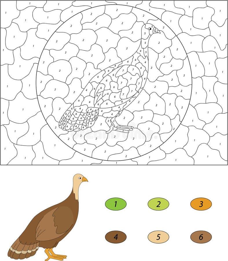 индюк шаржа Цвет игрой номера воспитательной для детей Vecto бесплатная иллюстрация