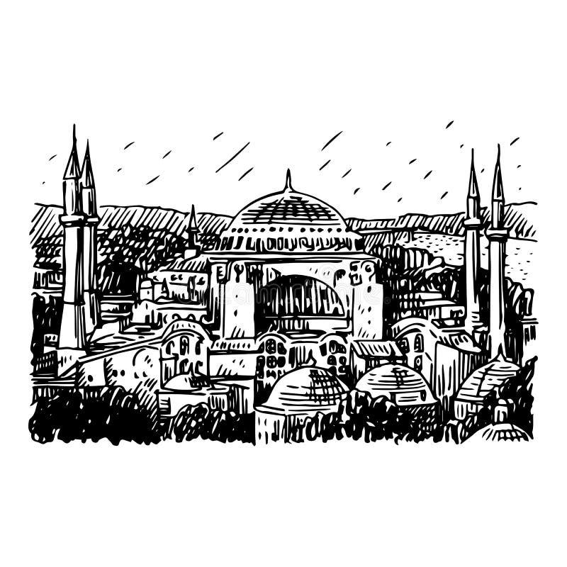 индюк sophia istanbul hagia иллюстрация штока