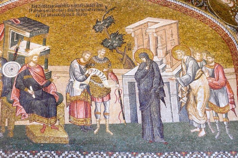Иосиф и девственница на переписи стоковые фото
