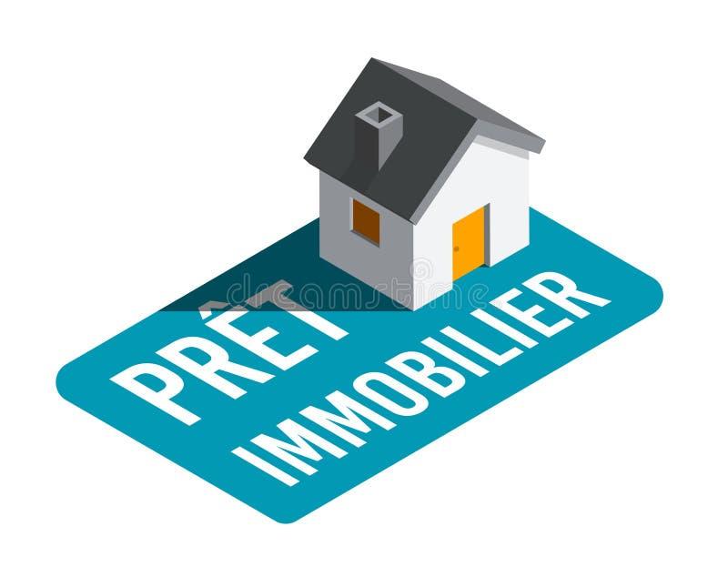 Ипотека в французском: Prêt более immobilier иллюстрация вектора