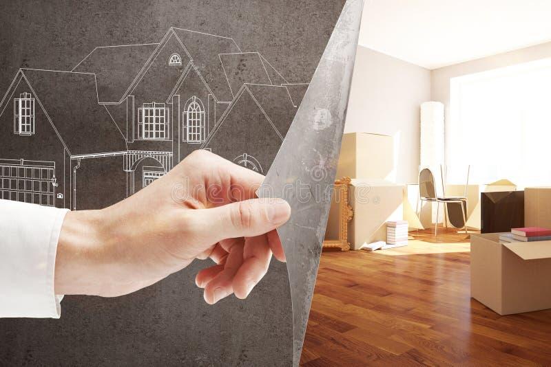 Ипотека и двигать иллюстрация штока