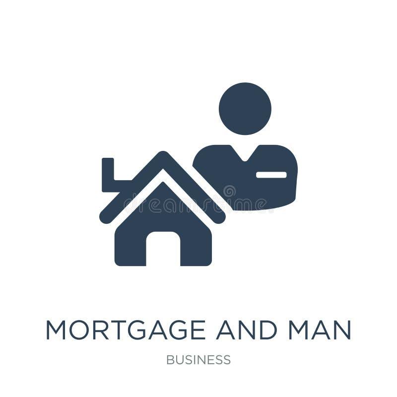ипотека и значок человека в ультрамодном стиле дизайна ипотека и значок человека изолированный на белой предпосылке значок ипотек бесплатная иллюстрация