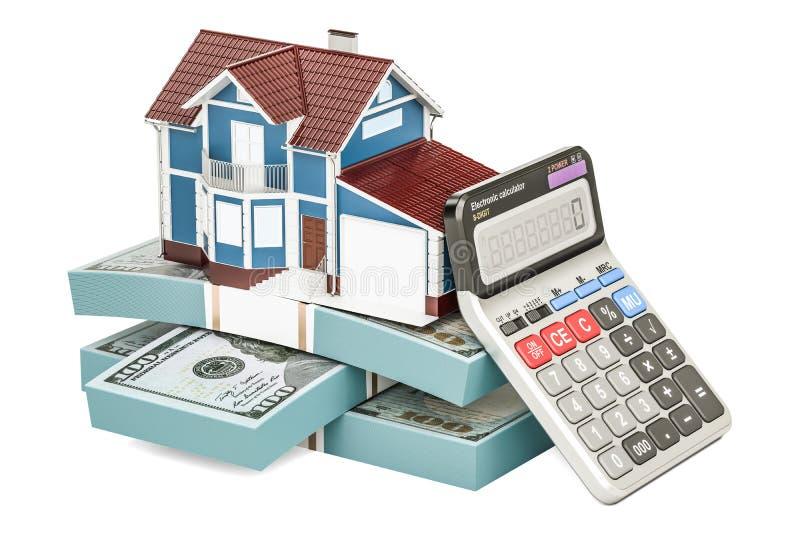 Ипотека и оплата для концепции дома, перевода 3D иллюстрация вектора