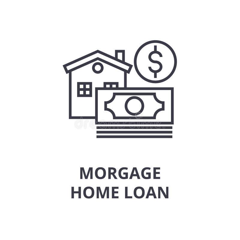 Ипотека, линия значок ипотечного кредита, знак плана, линейный символ, вектор, плоская иллюстрация бесплатная иллюстрация