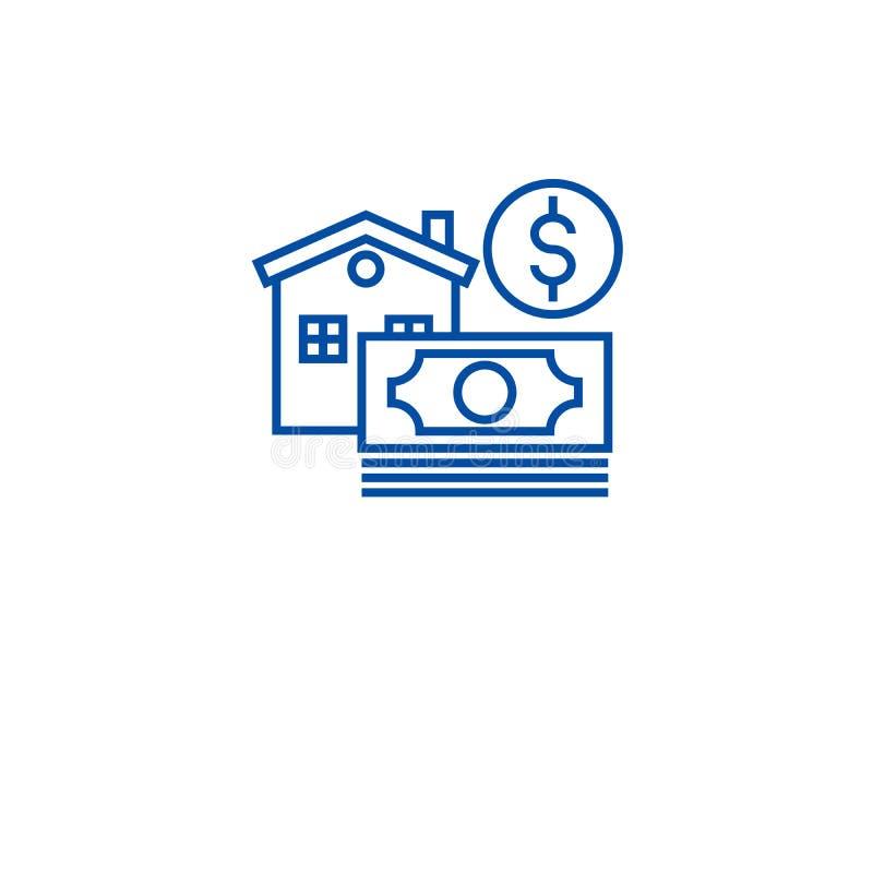 Ипотека, линия концепция ипотечного кредита значка Ипотека, символ вектора ипотечного кредита плоский, знак, иллюстрация плана иллюстрация штока