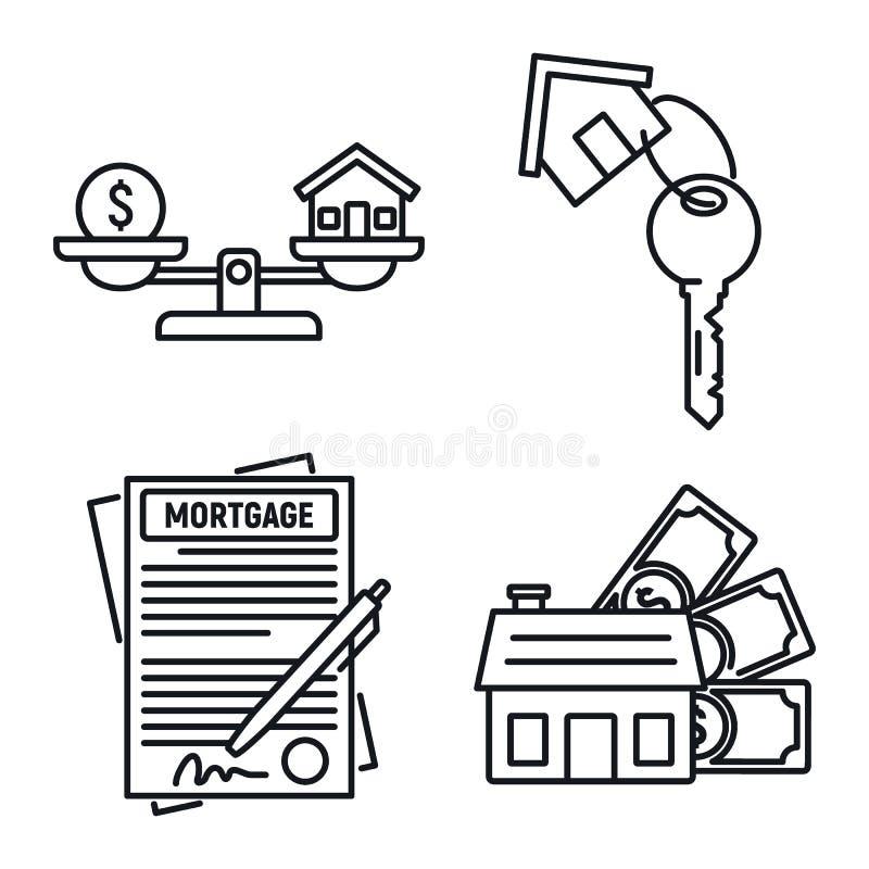 Ипотека одобрила набор значков, стиль плана иллюстрация штока