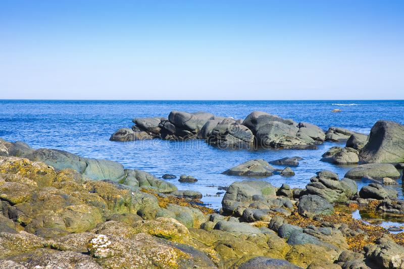 Ирландский ландшафт в Северной Ирландии с блоками утесов базальта в графстве антриме - Великобритании моря стоковое изображение rf
