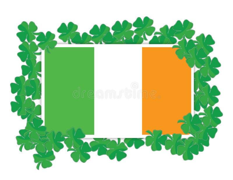 Ирландский флаг вокруг конструкции иллюстрации Shamrocks иллюстрация вектора