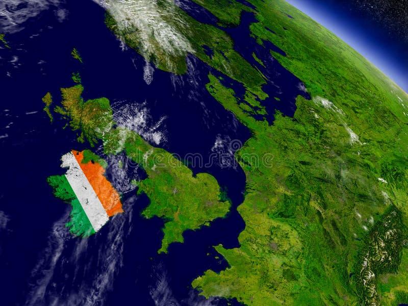Download Ирландия с врезанным флагом на земле Иллюстрация штока - иллюстрации насчитывающей спутник, орбита: 81807257