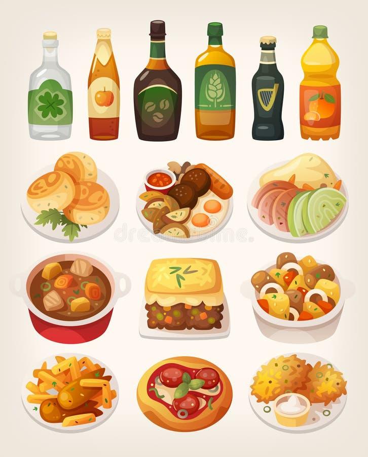 Ирландская кухня иллюстрация штока