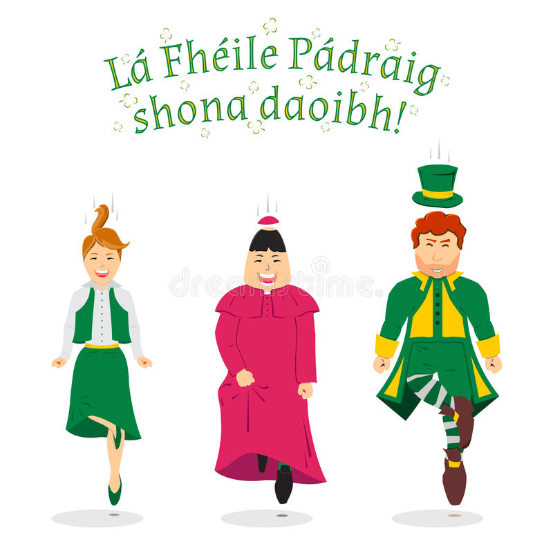 Ирландский джиг, иллюстрация на день St. Patrick иллюстрация вектора