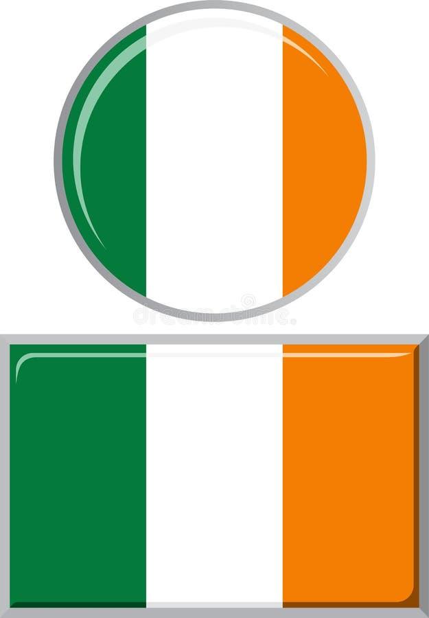 Ирландский кругом и квадратный флаг значка вектор иллюстрация штока
