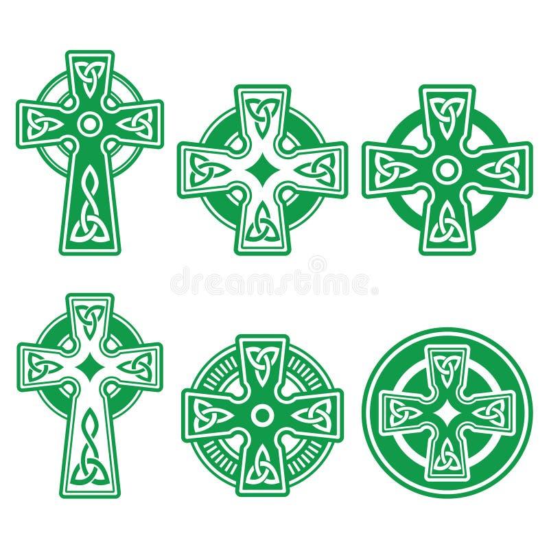 Ирландский, шотландский кельтский зеленый крест на белом знаке вектора иллюстрация штока