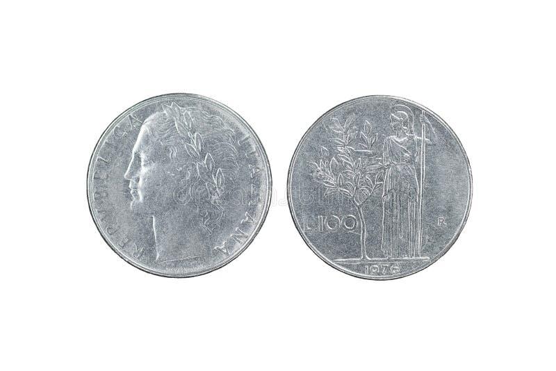 100 лир 1976, итальянская монетка стоковые фото