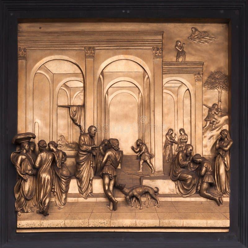 Исаак, Esau, барельеф бронзы Джейкоба - баптистерий Флоренса стоковая фотография rf