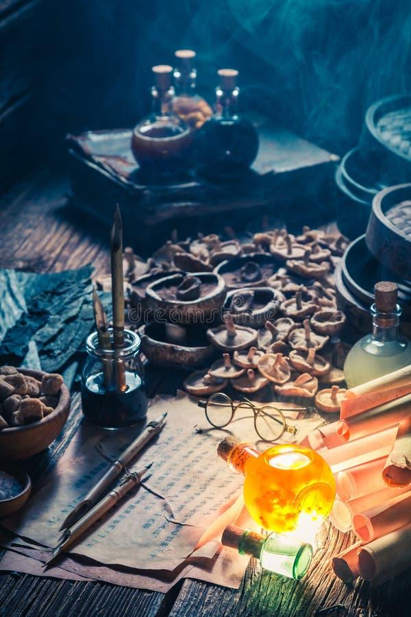 Искать вкус umami в старой лаборатории алхимика стоковые изображения