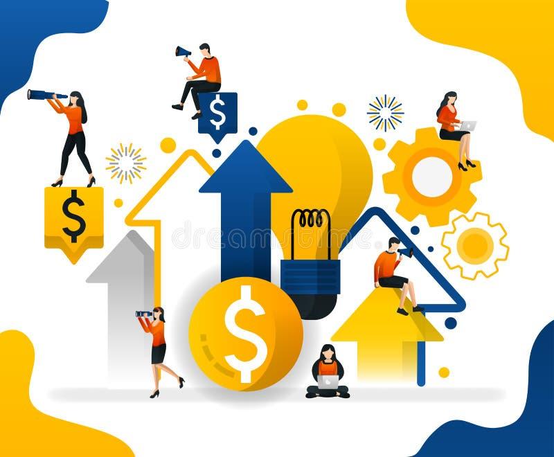 Искать идеи в деле выгоды роста для того чтобы получить много деньги, иллюстрацию вектора концепции может использовать для призем иллюстрация штока