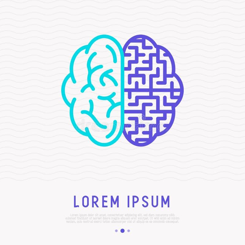 Искать концепции решения: лабиринт в мозге иллюстрация вектора