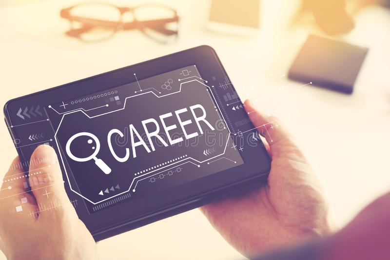 Искать тему карьеры с планшетом стоковое изображение