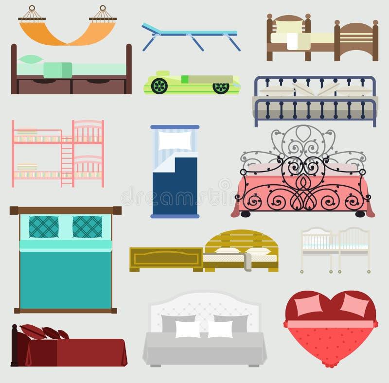 Исключительная спальня дизайна иллюстрации мебели кроватей спать с видом с воздуха Кровать мебели спать, интерьер, комната иллюстрация штока