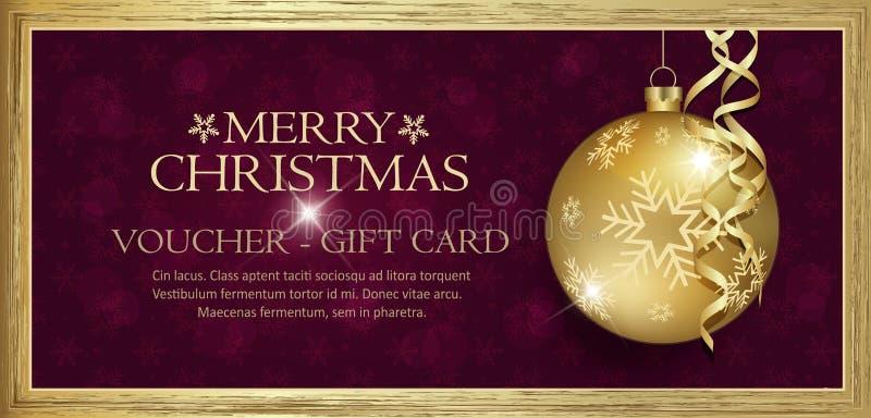 Исключительный подарочный сертификат золота с предпосылкой веселого рождества желаний пурпурной со снежинками иллюстрация штока