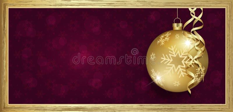 Исключительный подарочный сертификат золота с пурпуром предпосылки веселого рождества желаний с пробелом снежинок иллюстрация штока