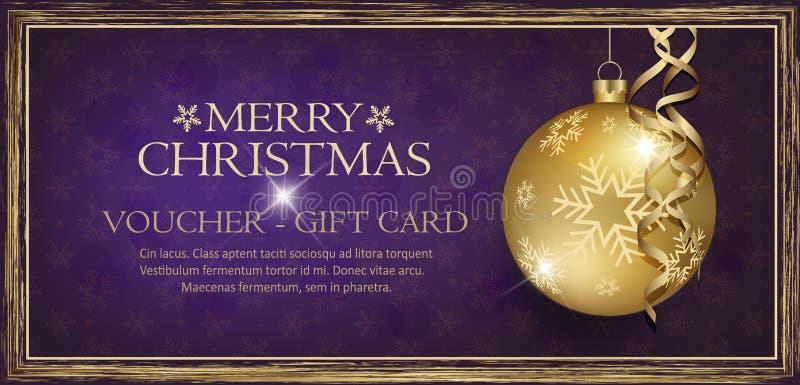 Исключительный подарочный сертификат золота с фиолетом предпосылки веселого рождества желаний со снежинками бесплатная иллюстрация
