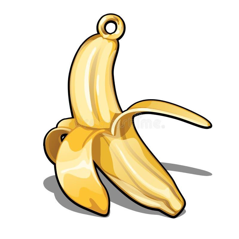 Исключительный шкентель сделанный из изолированного золота на белой предпосылке Украшения в форме банана Пример бутика бесплатная иллюстрация