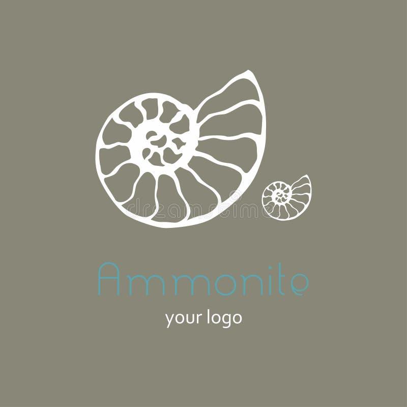Ископаемый логотип вектора seashell nautilus аммонита Иллюстрация руки вычерченная для салона спа, кафа морепродуктов, ресторана, иллюстрация штока