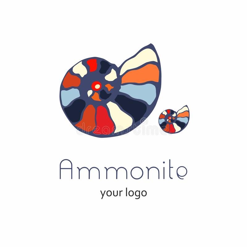 Ископаемый логотип вектора seashell nautilus аммонита Иллюстрация руки вычерченная для салона спа, кафа морепродуктов, ресторана, бесплатная иллюстрация