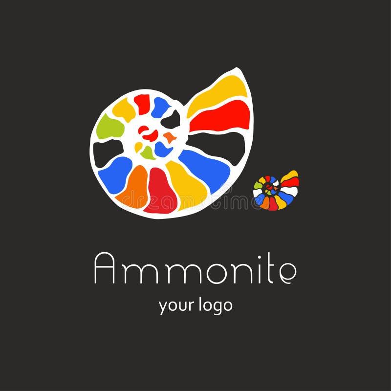 Ископаемый логотип вектора seashell nautilus аммонита Иллюстрация руки вычерченная для салона спа, кафа морепродуктов, ресторана, иллюстрация вектора