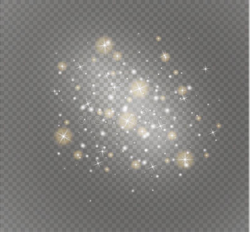 Искры белизны и световой эффект золотого яркого блеска звезд специальный Вектор сверкнает на прозрачной предпосылке абстрактные и иллюстрация вектора