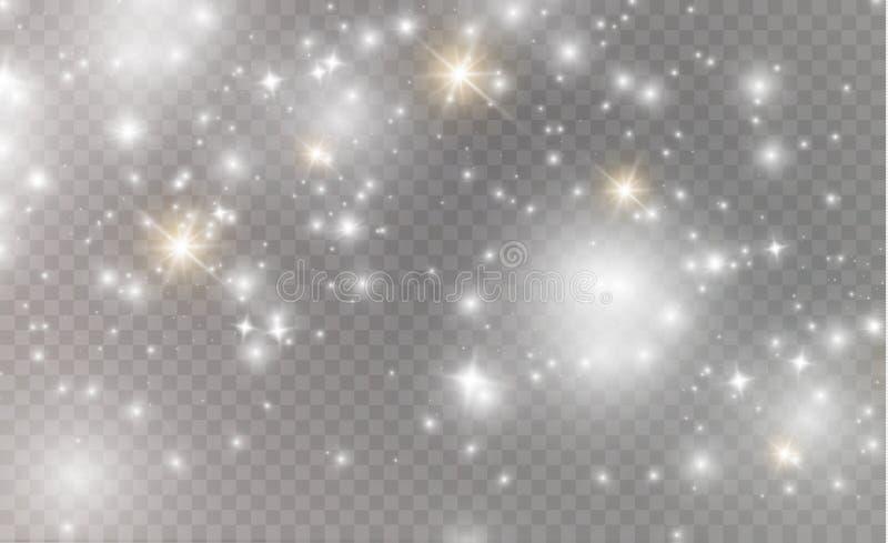 Искры белизны и световой эффект золотого яркого блеска звезд специальный Вектор сверкнает на прозрачной предпосылке Рождество иллюстрация вектора