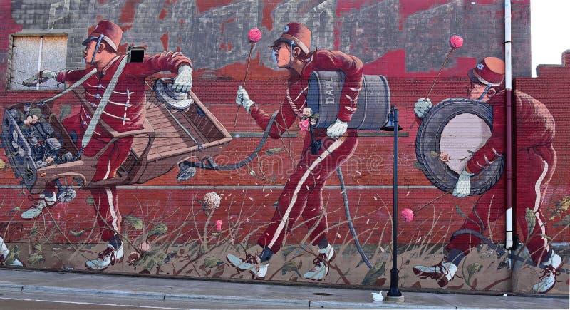 Искусные граффити военного оркестра в Детройте стоковые фотографии rf