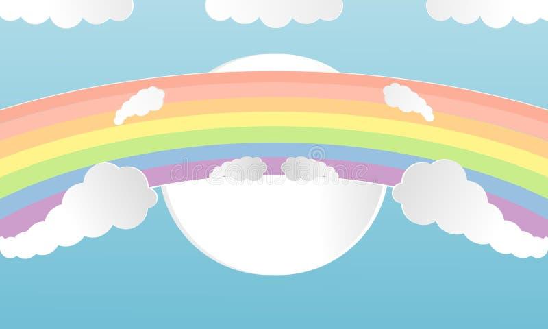 Искусства облаков и радуги лета стиль отрезка красочного бумажный Концепция иллюстрации вектора дизайна с летом сезона на backgro бесплатная иллюстрация