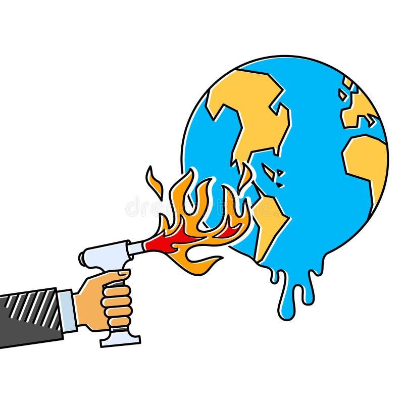 Искусственная метафора кризиса климата, лихтер факела удерживания руки рядом с глобусом земли, глобальным потеплением, мультфильм иллюстрация штока