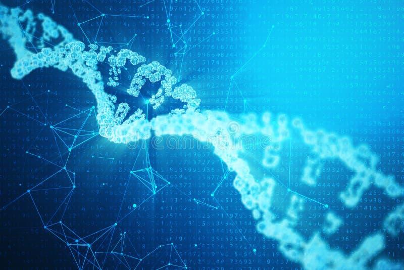 Искусственная молекула дна intelegence Геном бинарного кода концепции Наука абстрактной технологии, дна концепции искусственное 3 иллюстрация вектора